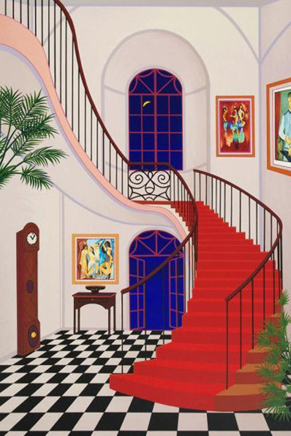 Interior With Red Staircase 2000