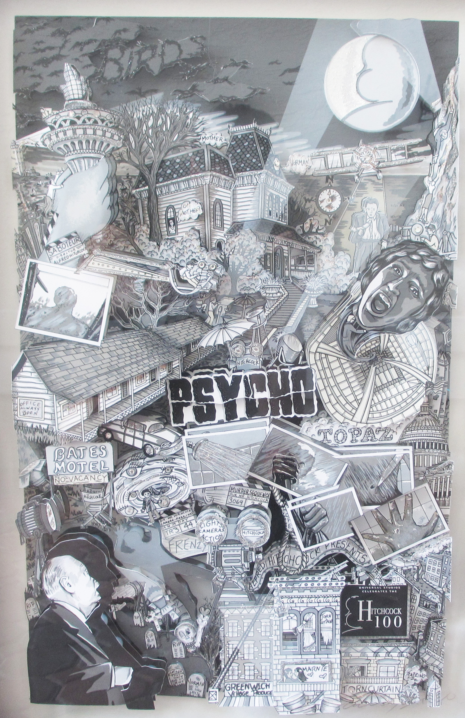 Psycho 3-D 1999 w Original Drawing on Verso