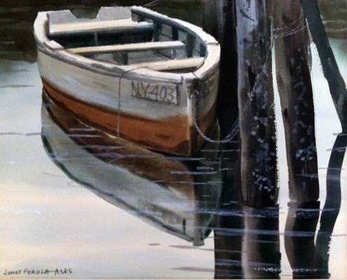 NY403, Rowboat Watercolor