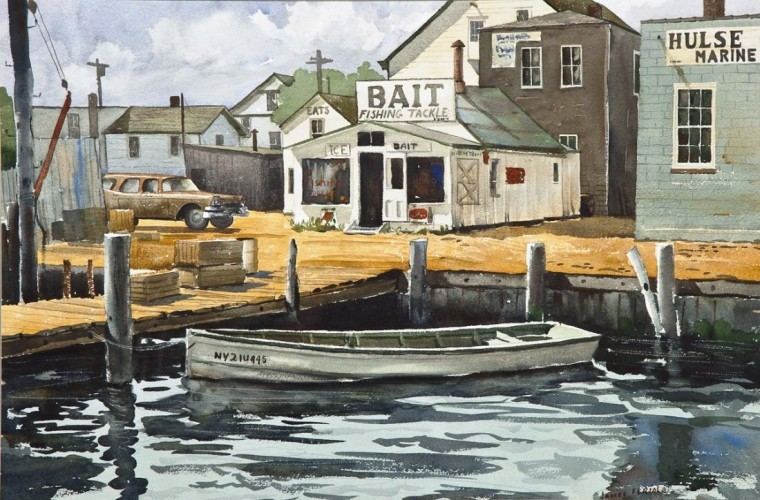 Rowboat at the Dock Watercolor 1980 30x40