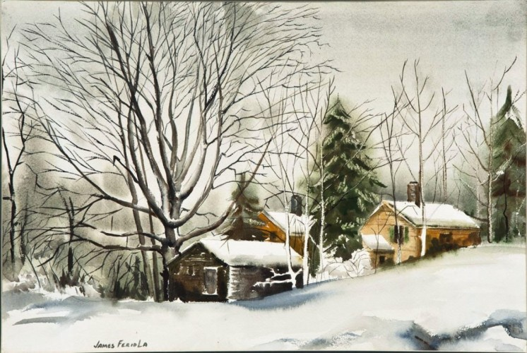 Farm in Winter Snow Watercolor 1980 26x32