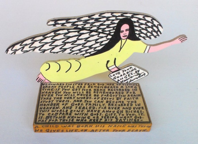 Love Your Guardian Angel Wood Sculpture 11 in