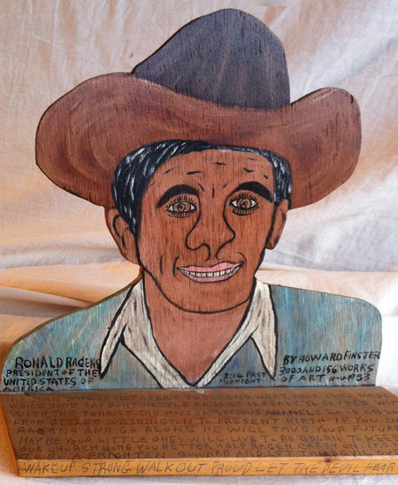 Ronald Reagan President of the United States of America Plywood Sculpture 1983