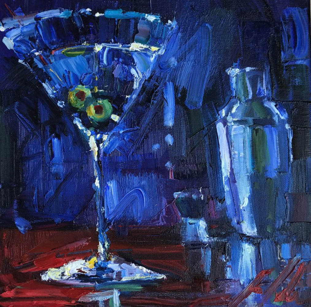 Shaken With Two Olives 2009 22x22