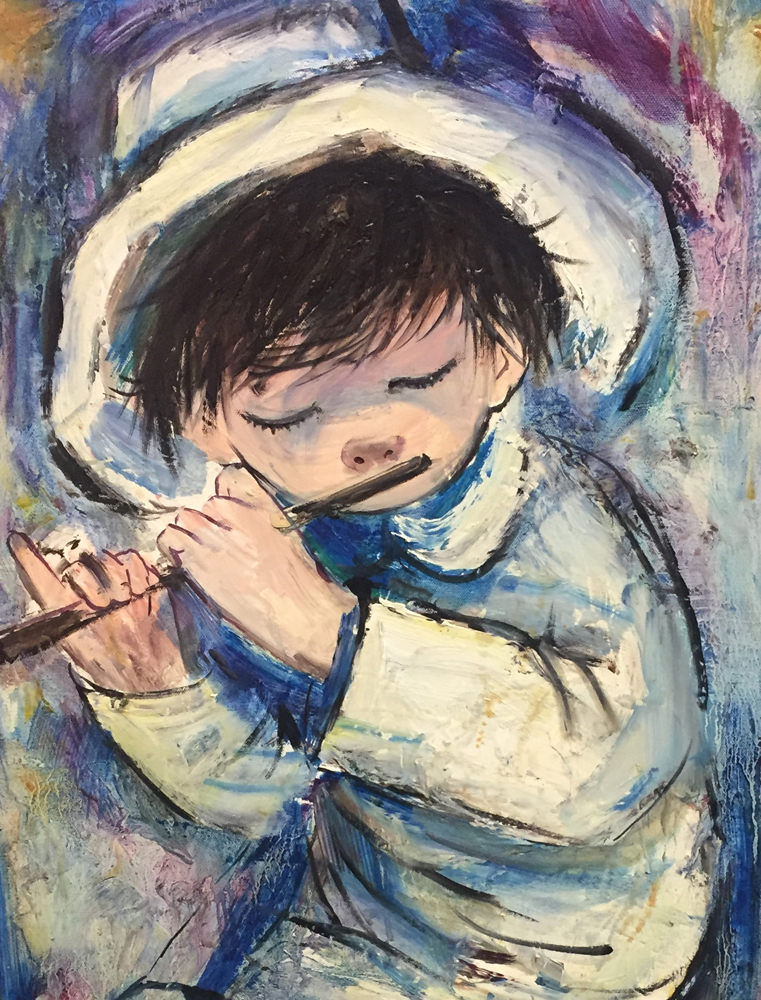 Blue Boy With Flute 24x36
