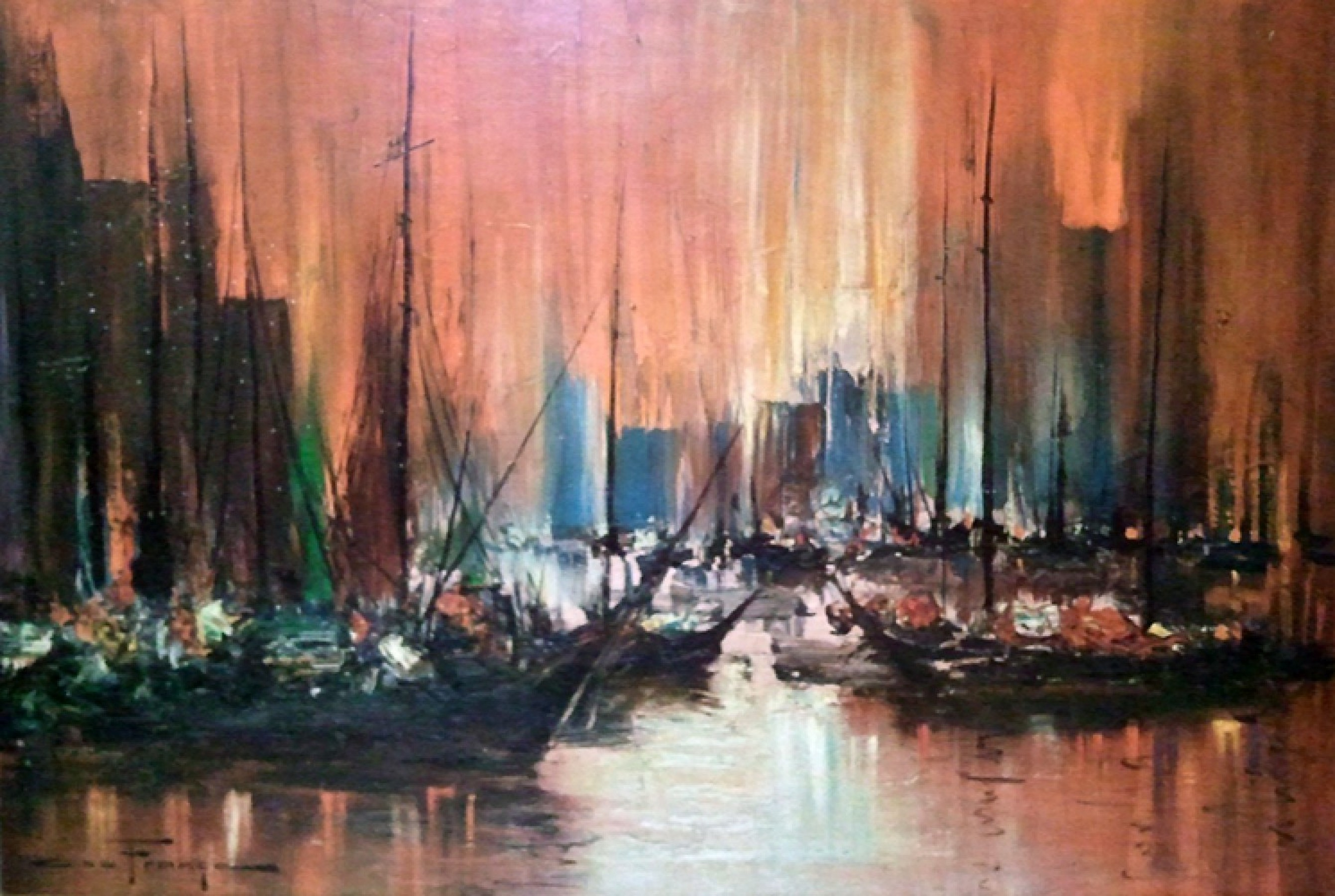 Untitled (Boats in Harbour) Early 1950 34x44