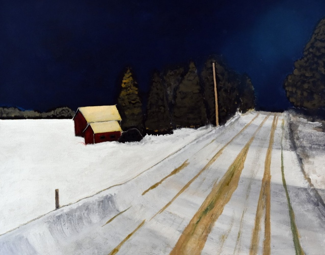Bell Line Road, Night 12x16