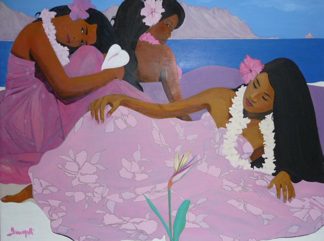 Hawaiian Girls  1979 Very Large Painting