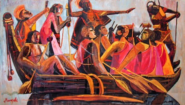 King Kamehameha And His Warriors Going to Battle 1976 48x84 by Luigi Fumagalli
