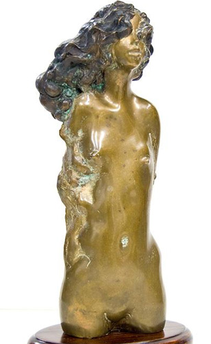 Young Girl Bronze Unique Sculpture 1971 16 in