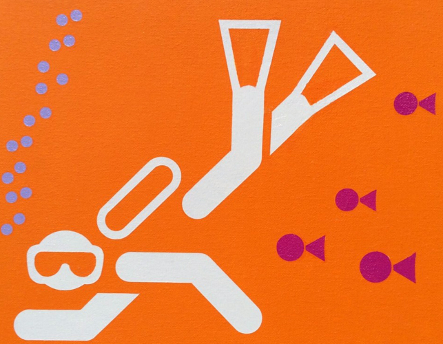 Orange Diver 13x16 2009 by Stephen Gamson