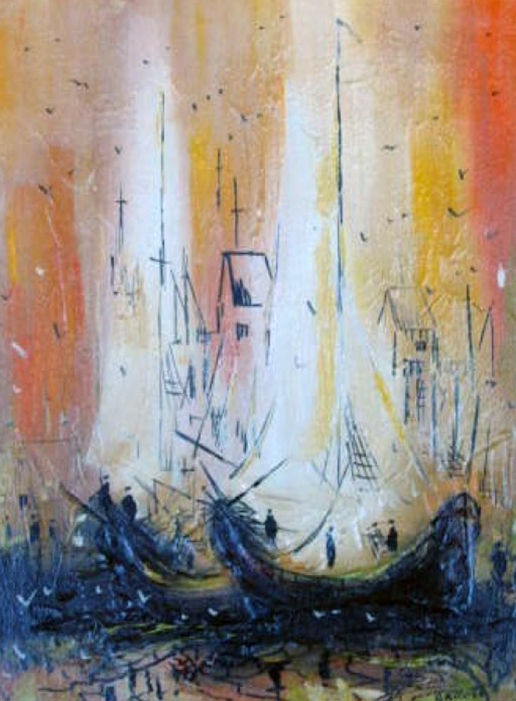 Boats At Wharf     1968 30x24