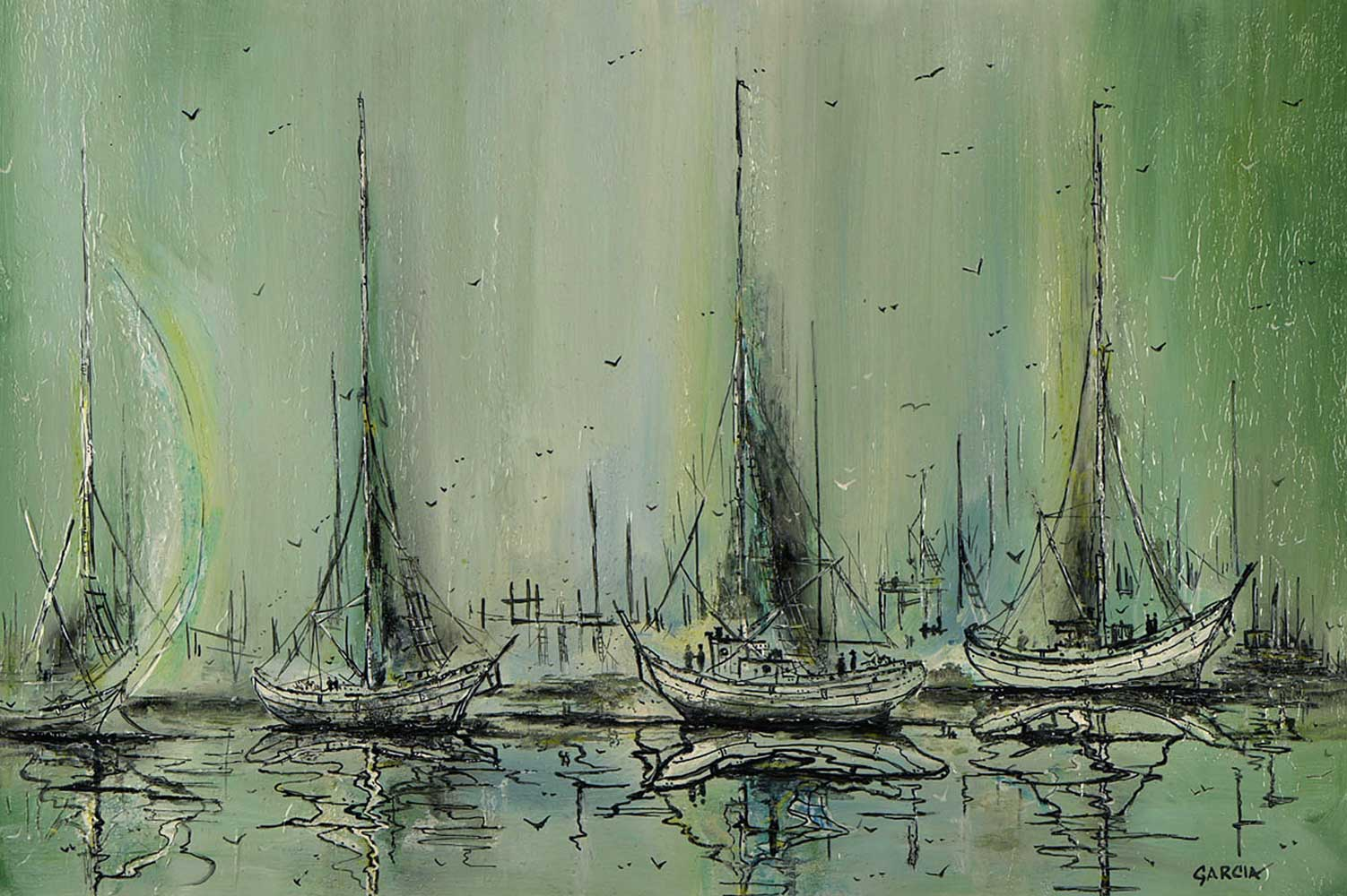 Untitled Sailboats 1983 25x37