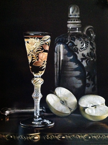 Wine Glass with Cut Green Apple  1970 Still Life 1970 16x12