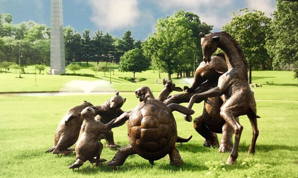 Circle of Friends Life Size Bronze Sculptures 2004 85x132 Inches