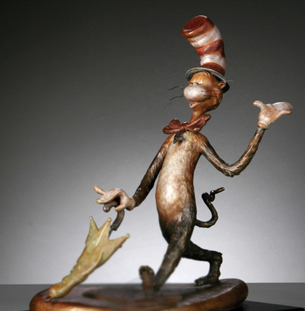 Cat in the Hat  Bronze Sculpture 2006 15 in