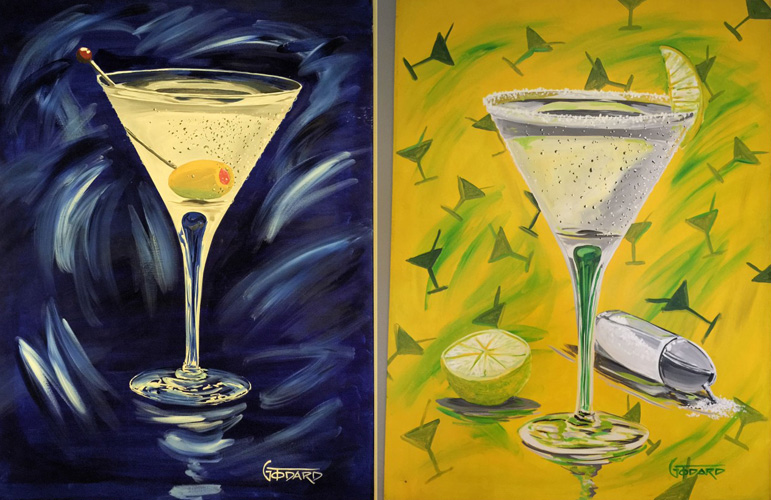 Blue And Yellow Martini 1998 40x30 by Michael Godard