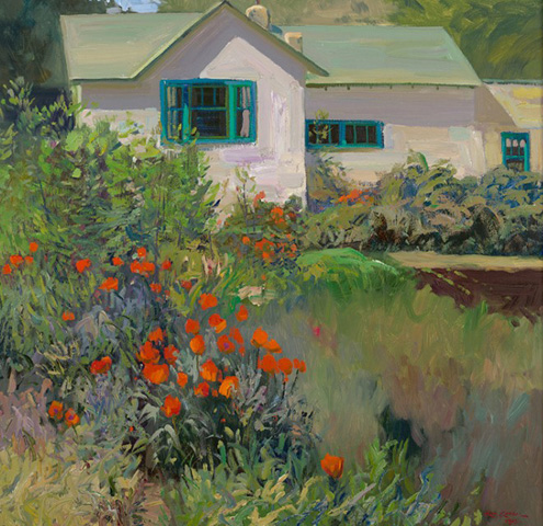 Taos Poppies 1970 25x26 by Rod Goebel