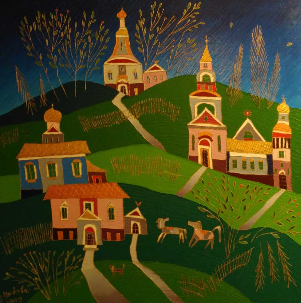 Village in the Fall 1992 30x24