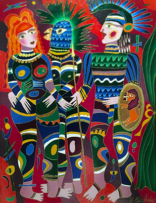 Soldier And Two Women 1991 54x42