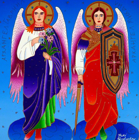 Archangels Gabriel And Michael 2012 24x24 by Yuri Gorbachev