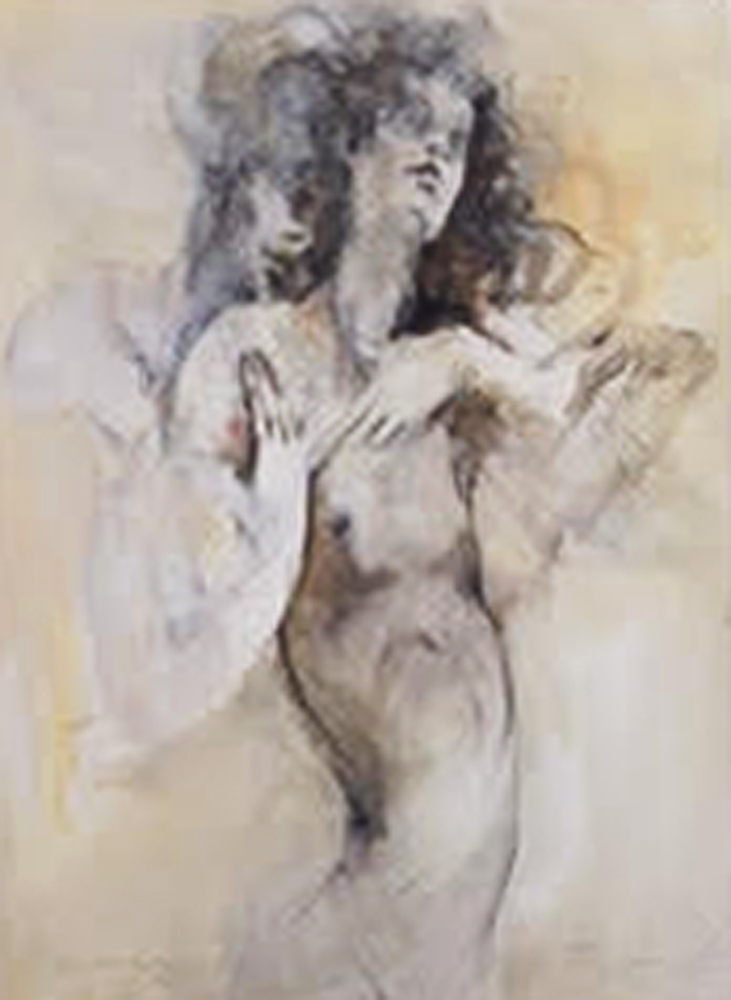 Nude Man and Women 1977 36x44