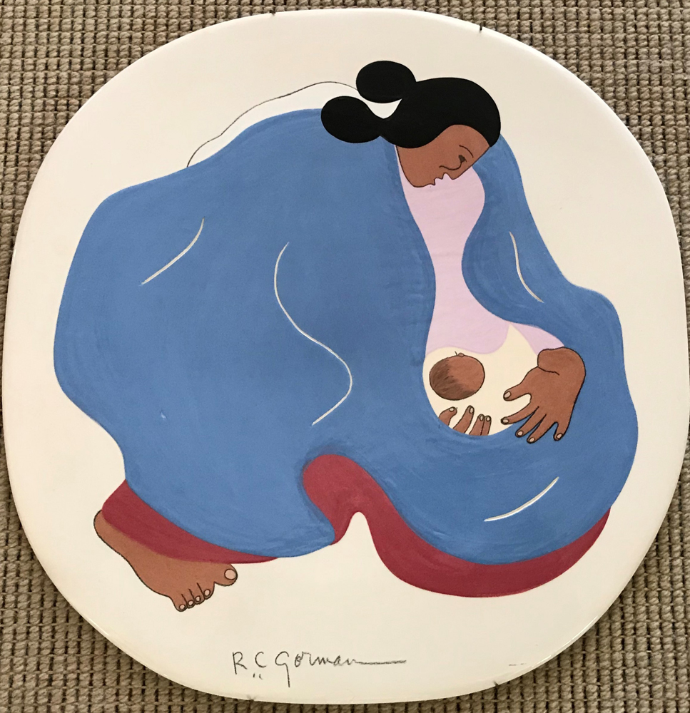 Navajo Woman and Child Plate 1982 16x16