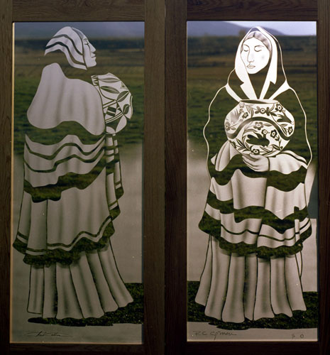 2 Panel Etched Bronze Glass Door  Chas Collins Set 1985