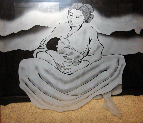 Mother and Child Glass Panel 1985