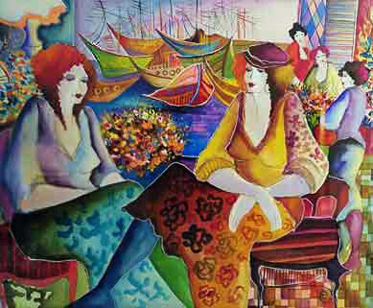 Ladies By Water Watercolor 35x43