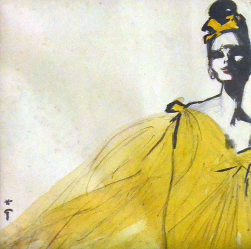 La Dames Au Chapeau Jaune Watercolor 1986