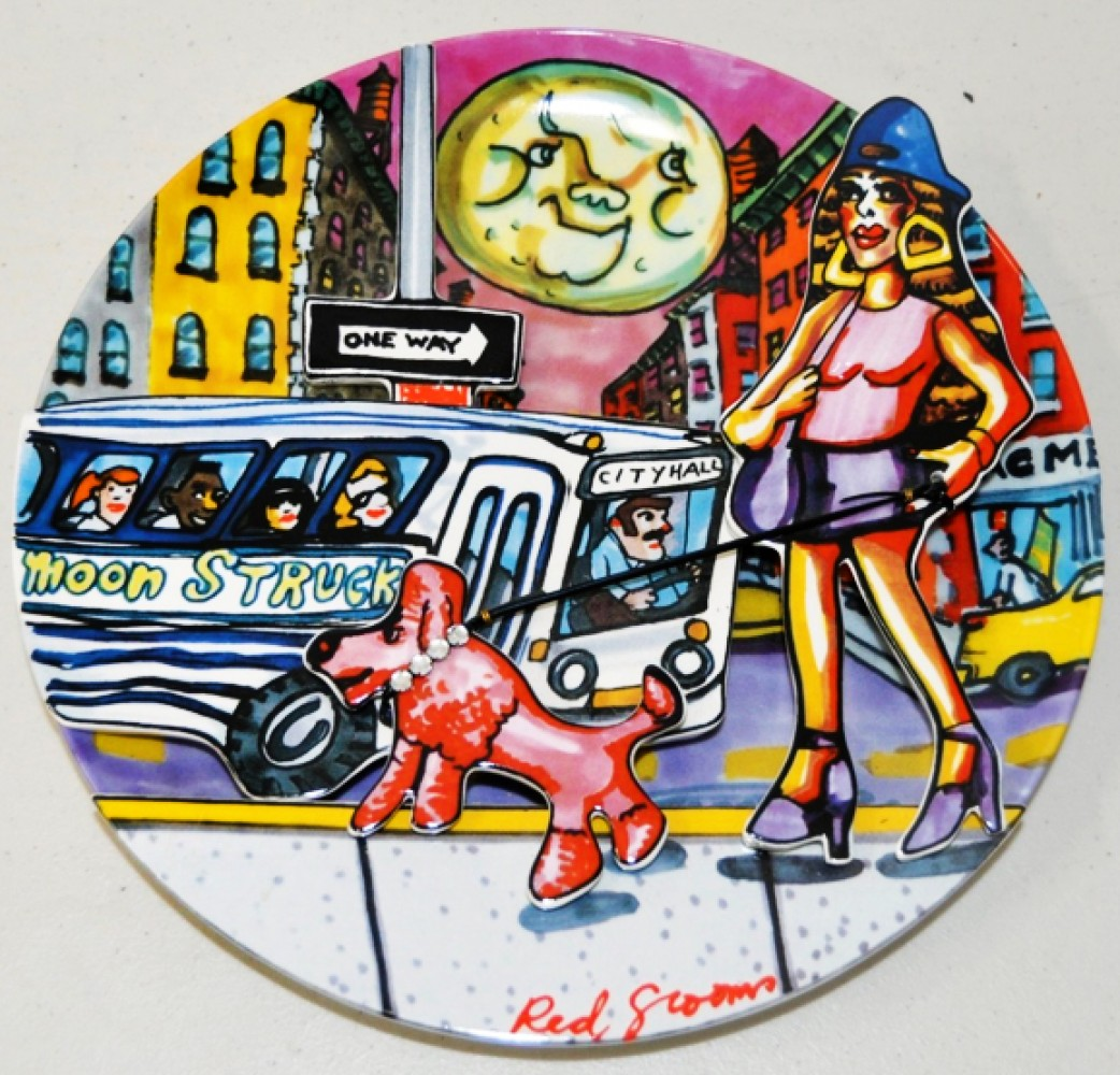 Moonstruck Porcelain Plate 1994 10x10 by Red Grooms