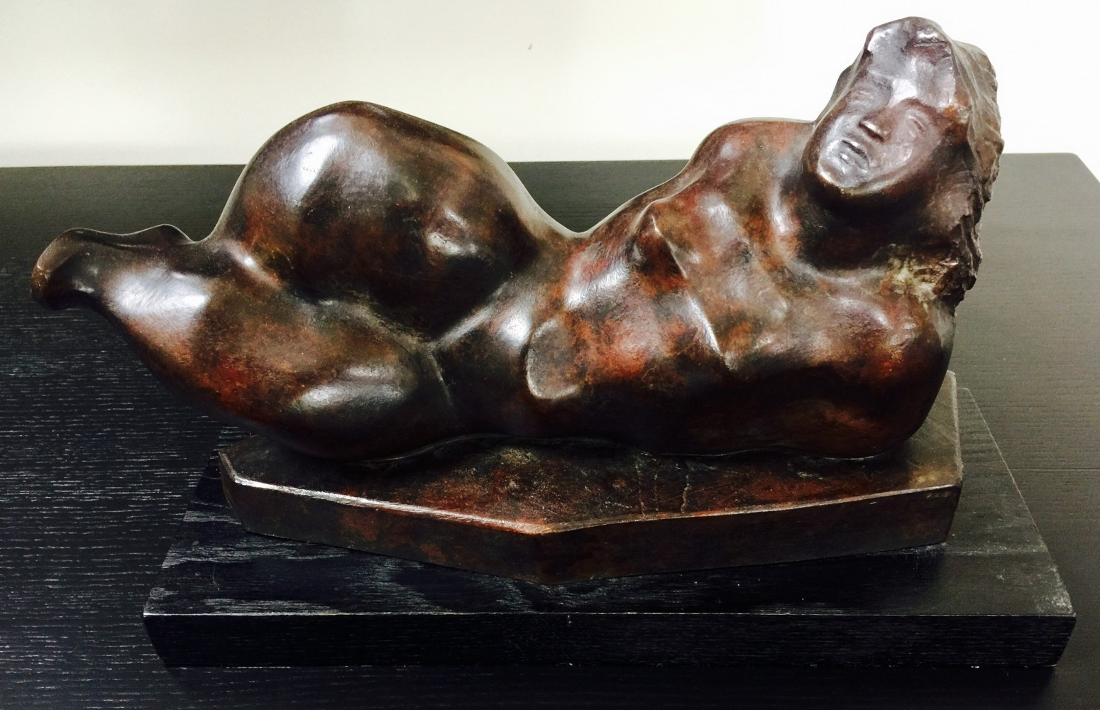 Reclining Figure Bronze Sculpture 1981 15 in
