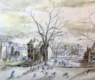 Baseball in Vacant Lot Watercolor 1934  8x19