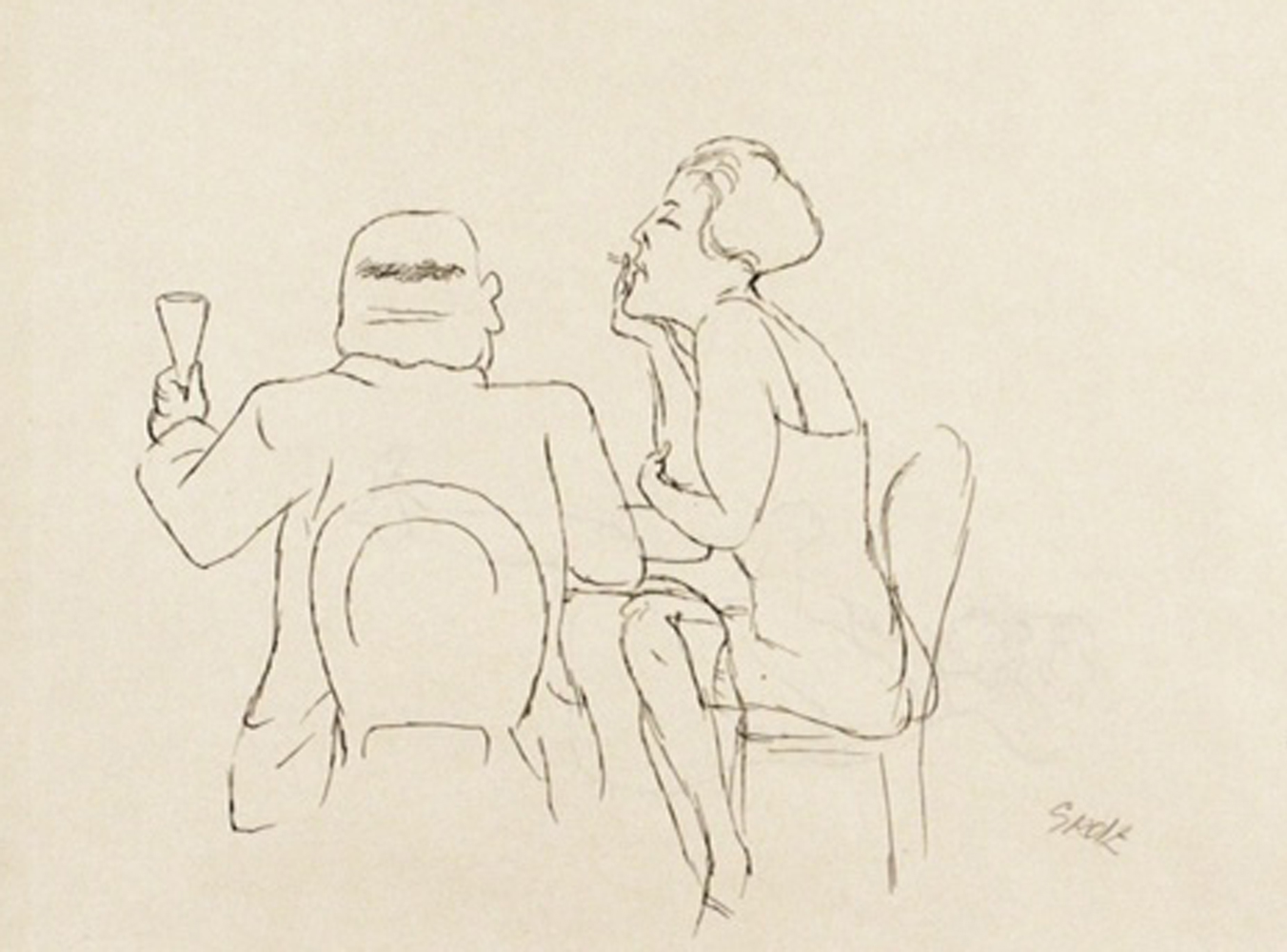 Man and Woman in Cafe Drawing 1925 15x20