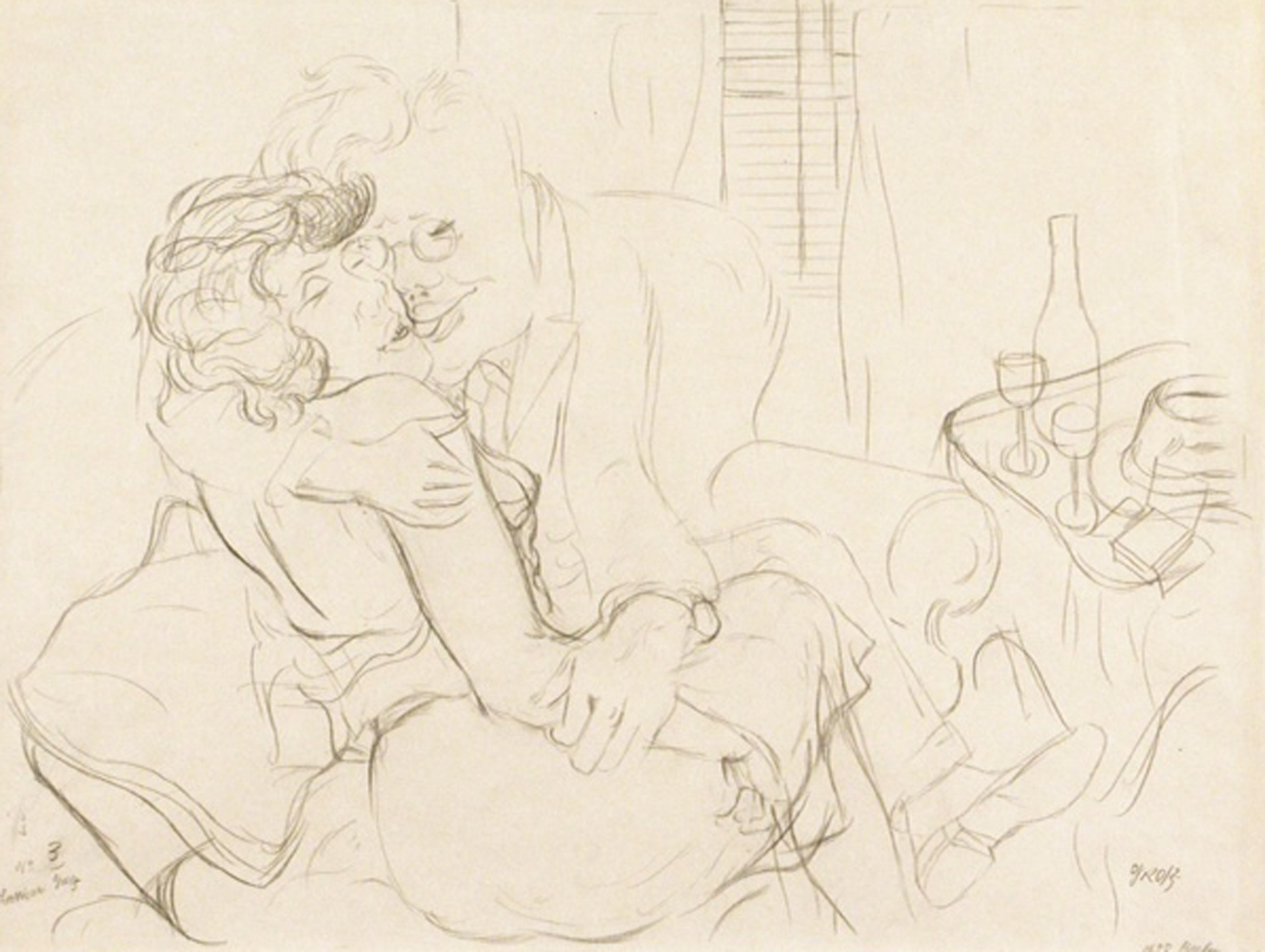 Lovers Drawing Drawing 1928  15x20