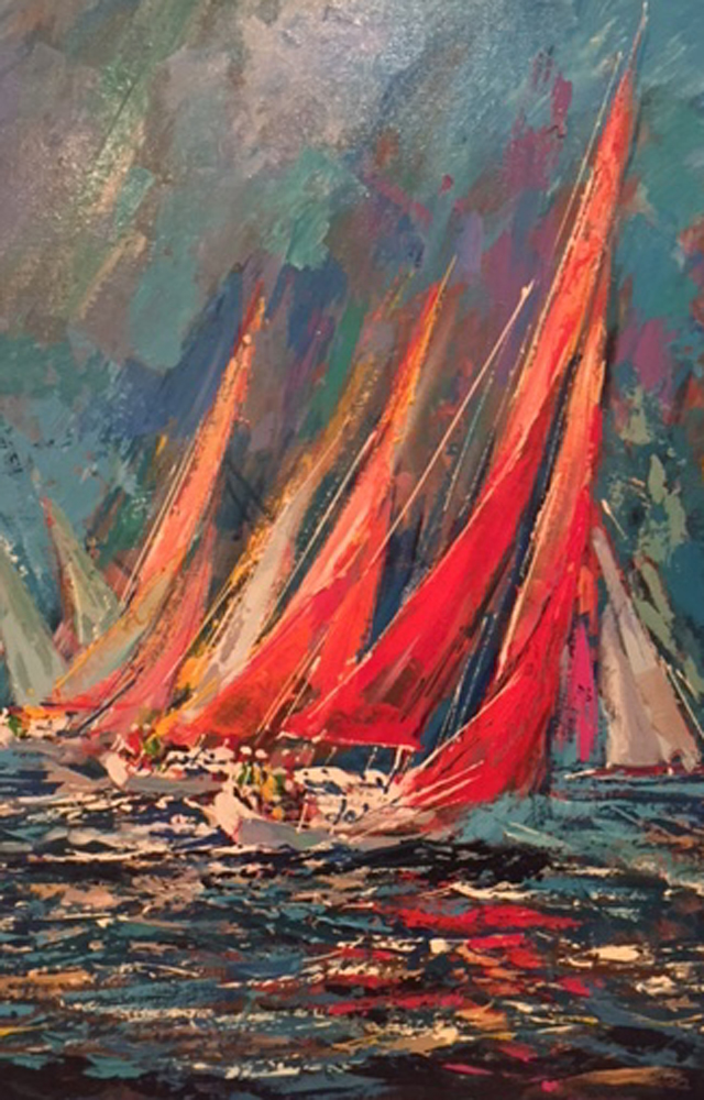 Regatta, Set of 3 Paintings 1990 26x38