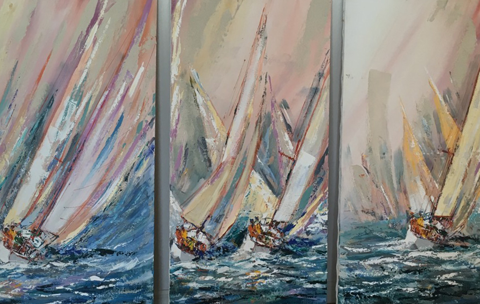 Sail Boat Race 1985 48x24 by Kerry Hallam