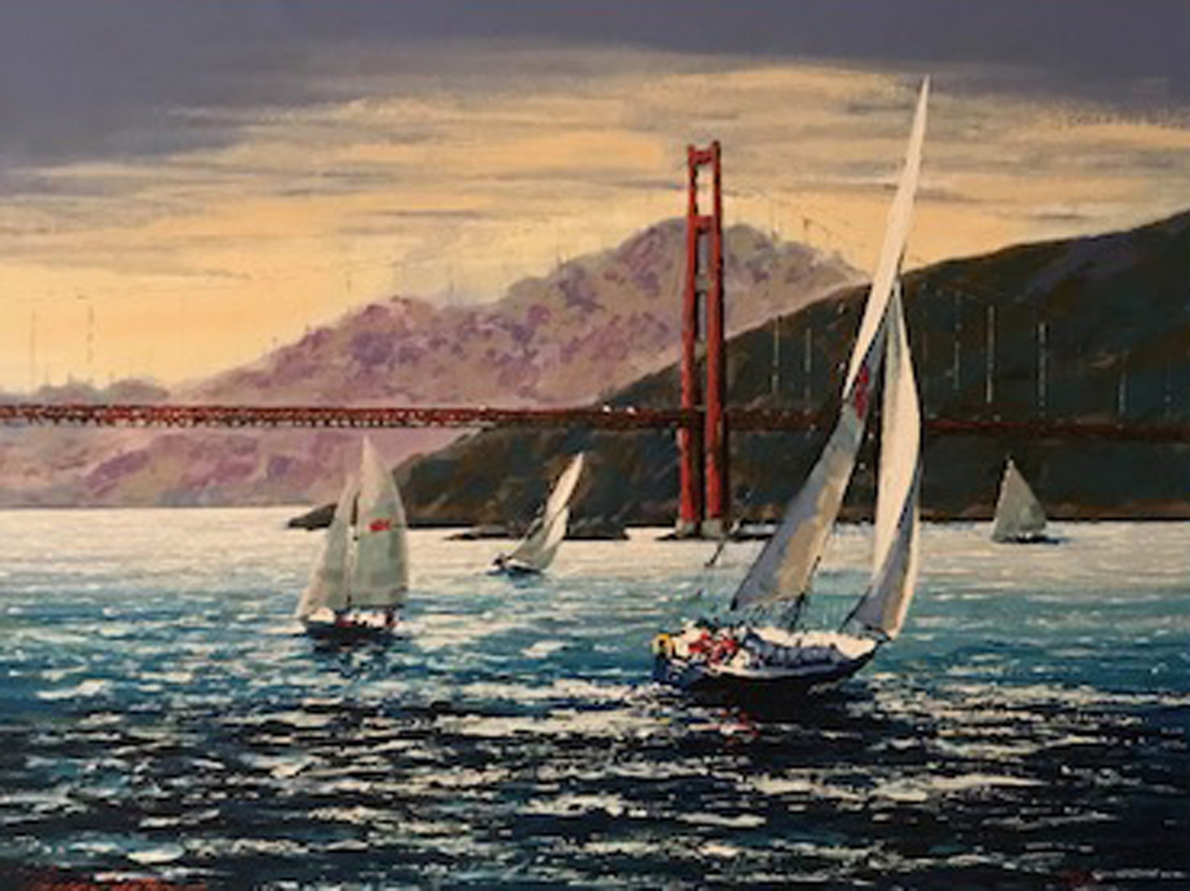 Golden Gate Sunset, San Francisco  2001 Embellished