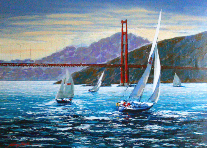 Golden Gate Sunset, San Francisco Embellished 2001