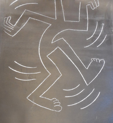 Walking Man Subway Drawing 1984 55x44, authenticated by Keith Haring