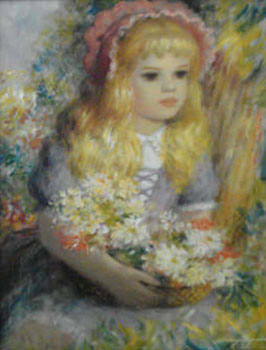 Pretty Blonde Girl with Basket 16x12