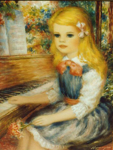 Blonde Girl and Piano '80's 12x16