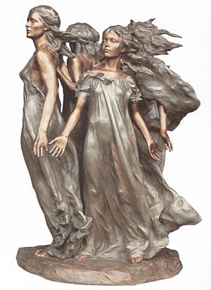 Daughters of Odessa 1/3 Life Size Bronze Sculpture  1999 26 in