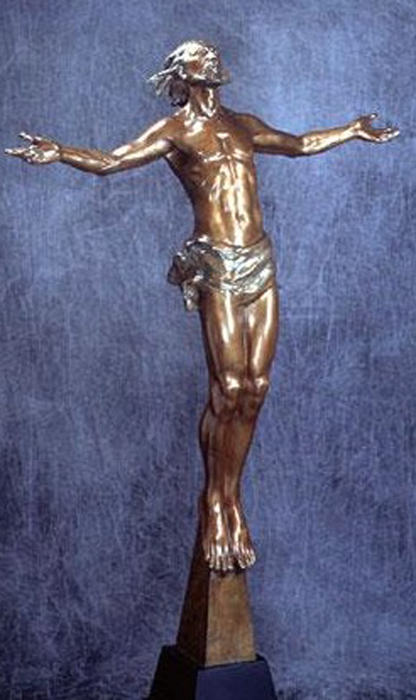 Christ Rising Bronze Life Size Sculpture 62 in