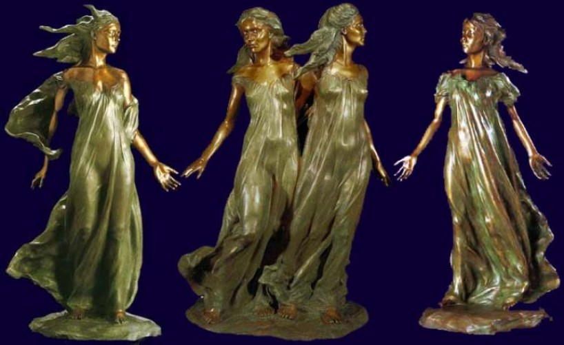 Daughters of Odessa Trilogy, 1997 Set of 3 Bronze Sculptures 48 in high