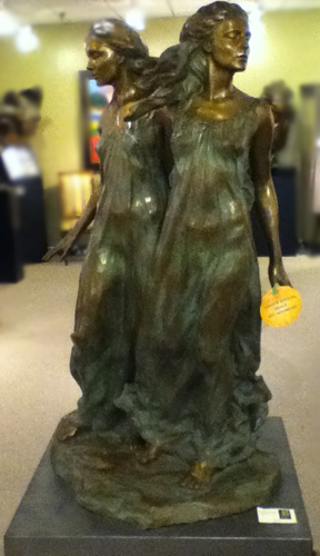 Sisters Bronze Life Size Sculpture 1997 51 in