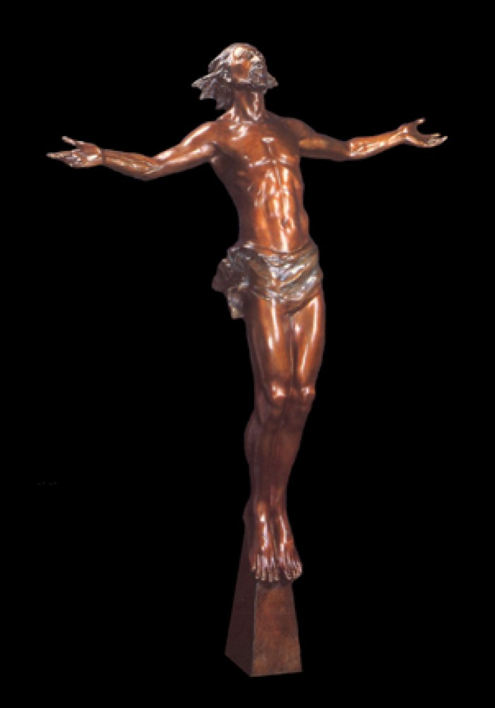 Christ Rising Bronze Sculpture Life Size  1998 89 in
