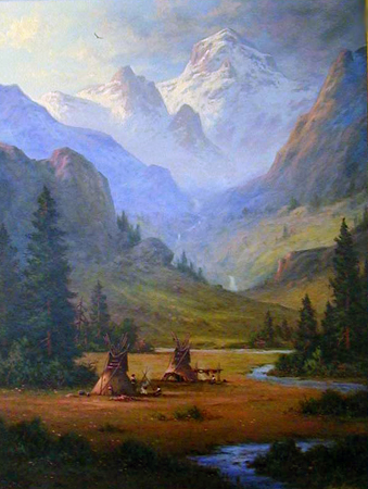 Indians in the Rockies, Colorado 2008 40x30