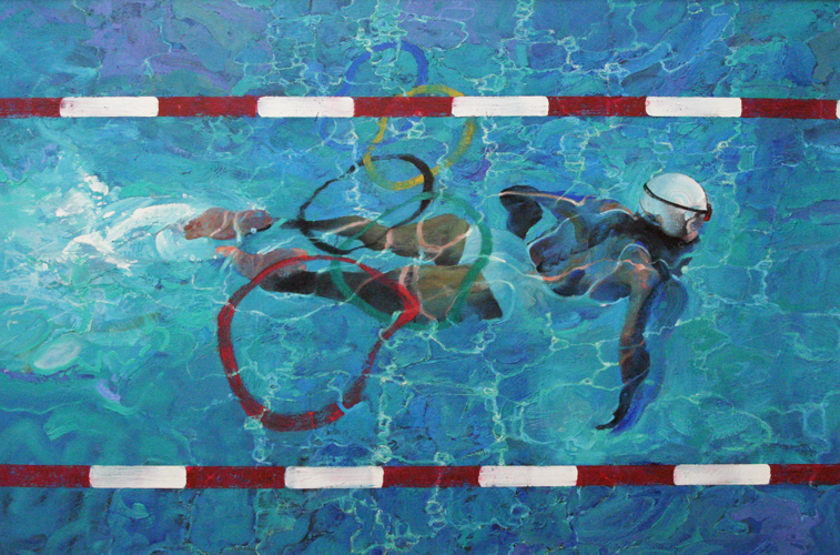 Swimmer 34 x 52 Olympic commission  for 100 year anniversary